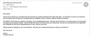 Great Clips corporate response
