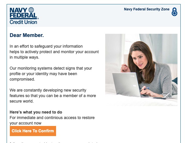 Email scam – Navy Federal Credit Union