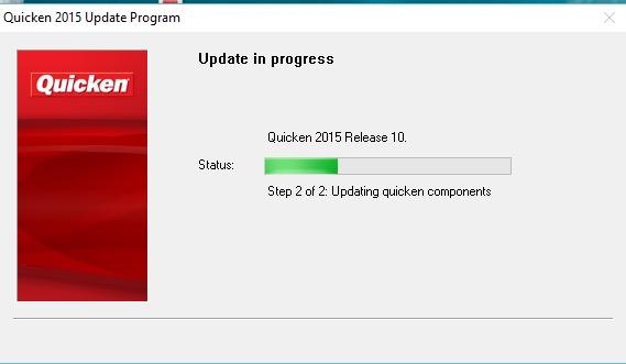 Quicken update in progress
