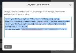 copy mailchimp code