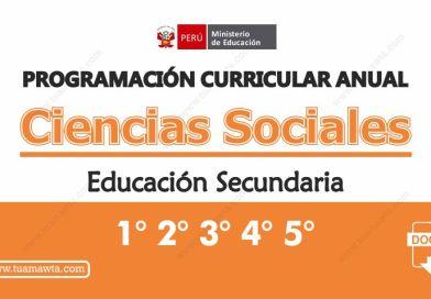 Programación Curricular Anual N.Secundaria – Ciencias Sociales [Formato Editable]