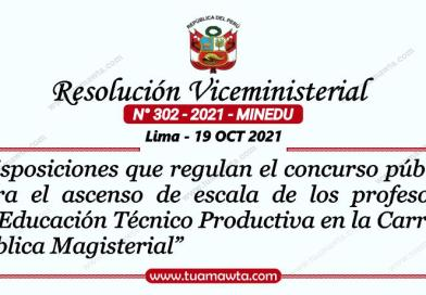 R.VM. N° 302-2021-MINEDU – Disposiciones para el ascenso de escala de los profesores de Educación Técnico Productiva en la CPM