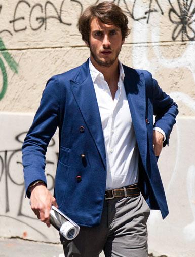 chaqueta con doble botonadura azul primavera verano 2014