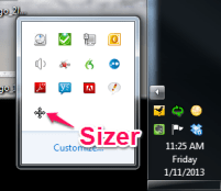 Sizer in toolbar