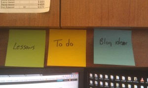 My overhead with my Post It Note tags
