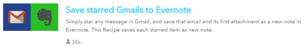 IFTTT Recipe for Gmail and Evernote