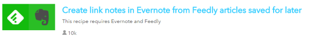 IFTTT Recipe for Feedly and Evernote