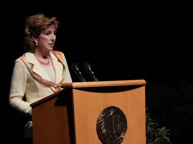 Chancellor Linda P.B. Katehi spoke of the diversity of UC Davis students and of goals to advance the school into the top 5 universities in California.