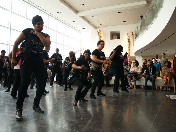 Tina B and the Soul Line Dancers danced for the crowd and invited them to join in throughout the event.