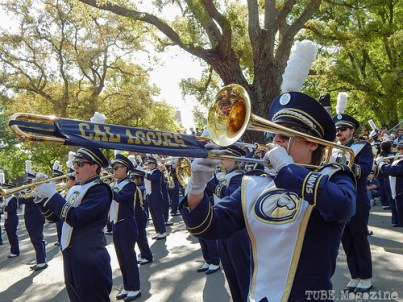 Band-uh!, UC Davis' marching band, performs a few pieces before the parade continues.