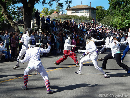 The UC Davis Fencing Club giving a quick demonstration.