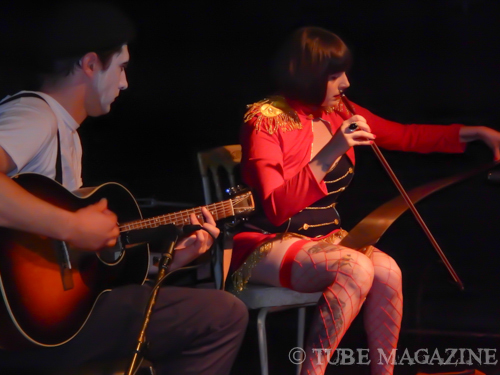 Parker Mcdonald playing the guitar and Danielle Driscoll on the saw. Photo by Ryan Stewart