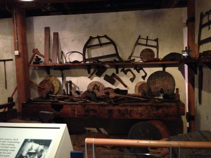 Tools of the blacksmith trade in the Docklands Museum.
