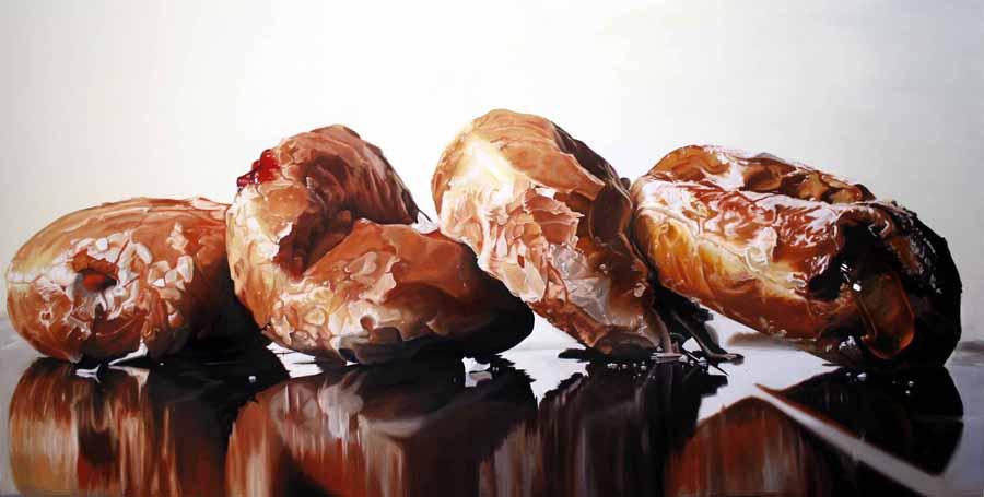 "Donuts Behaving Badly:Sloth oil on linen 36""H x 72""W Denise Stewart-Sanabria"