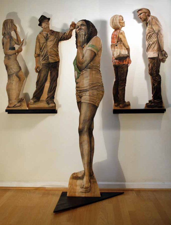 "People18,19,20,21,22 charcoal and pastel on plywood 72"" H x 72""W x 24""D Denise Stewart-Sanabria"