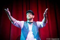 Andre Defeye on stage during The Sizzling Sirens Burlesque Experience at Assembly in Sacramento CA. September 2014. Photo Melissa Uroff