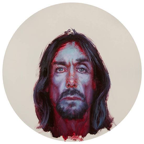 Iggy Pop by John Wentz Oil on vinyl record.