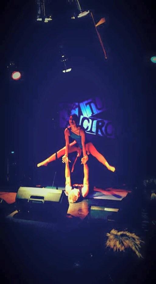 Yoga acrobats, Partner Play, performing at the TUBE. Circus May 15 2015 at The Blue Lamp in Sacramento CA. Photo Gabriel Levan Aiello.