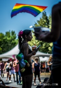 The Rainbow flag blows in the breeze above the crowds at Sac Pride 2015, Photo Sarah Elliott
