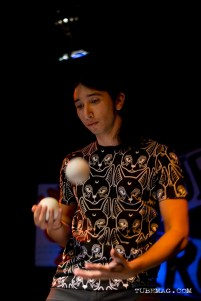 Ruben Pena juggling at the TUBE. Circus May 15, 2015 at the Blue Lamp located in Sacramento CA. Photo Sarah Elliott.