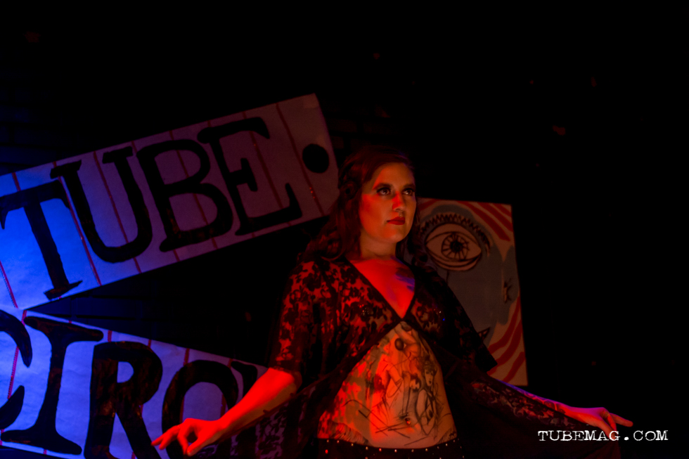 Meowie Wowie of Sacramento burlesque troop The Sizzling Sirens performing at the TUBE. Circus at the Blue Lamp. Sacramento CA. May 15, 2015. Photo Sarah Elliott.