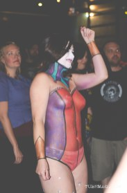 Body artist Rachel Harcourt displayed her painting on model Grace Yvonne at the TUBE. Circus on May 15, 2015, at the Blue Lamp in Sacramento CA. Photo Sarah Elliott.