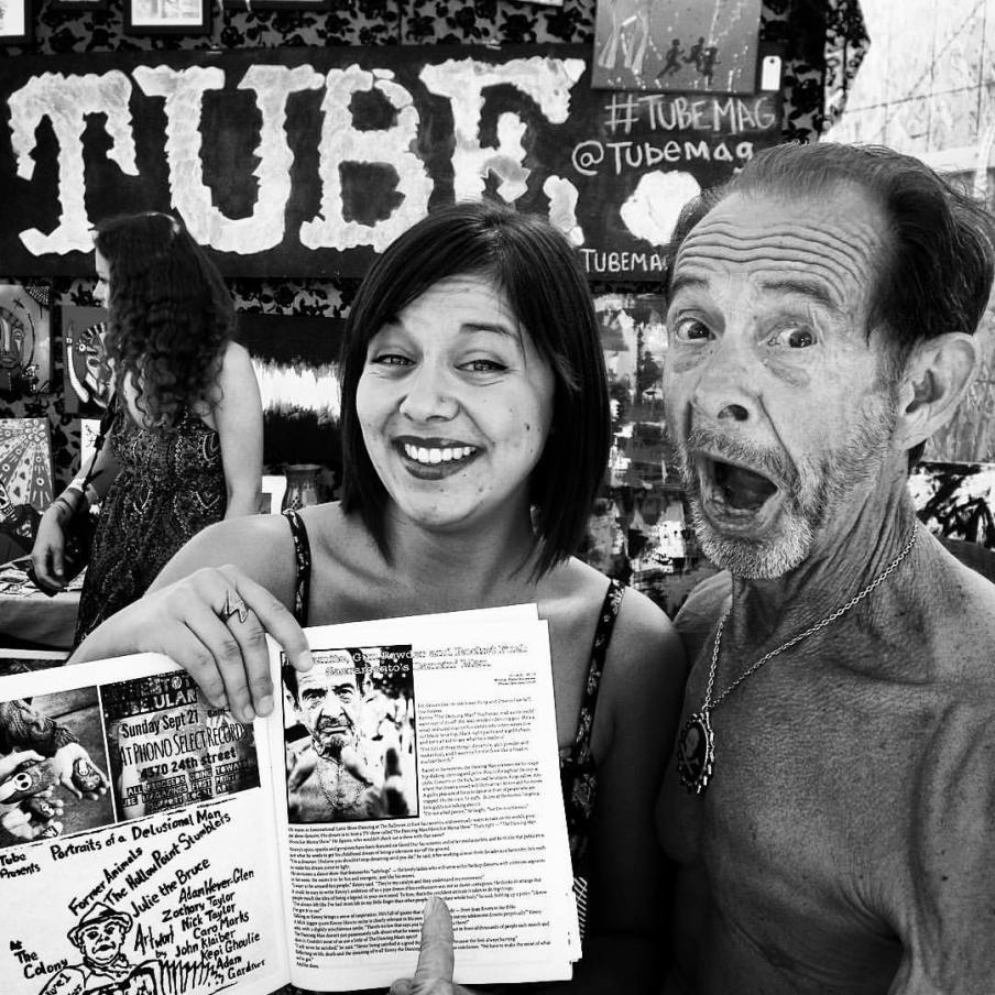 """Kate Gonzales and Kenny """"The Dancing Man"""" with TUBE.'s first print issue at TBD Fest. 2015"""