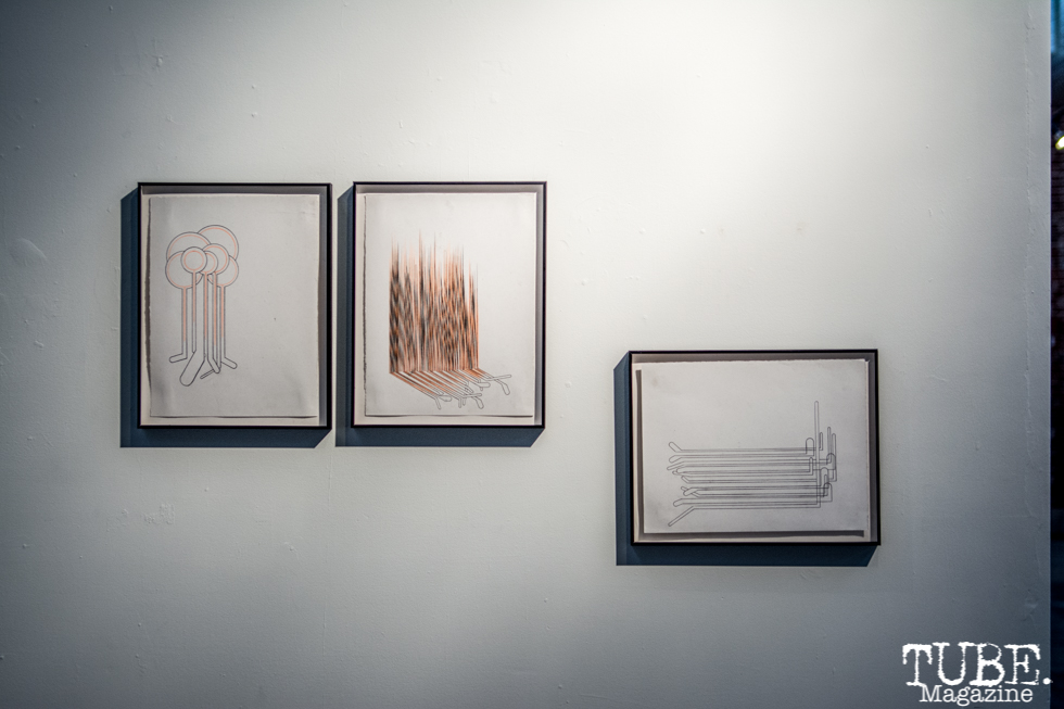 """""""Ortbal's drawings are also on view"""" Musical Chairs by Robert Ortbal at Beatnik Studios. Photo Sarah Elliott. 2015"""