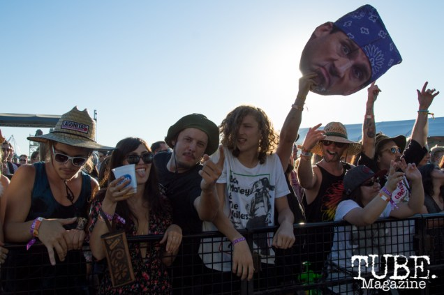 The crowd and Paul Rodriguez's head during The Growlers performance at TBD Festival in Sacramento, Ca. September 2015. Photo Alejandro Montaño