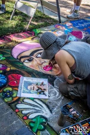"Deborah Berry with Sacred City Derby Girls, ""Frida as Derby Girl"", Chalk It Up, Sacramento 2015, Photo Sarah Elliott"