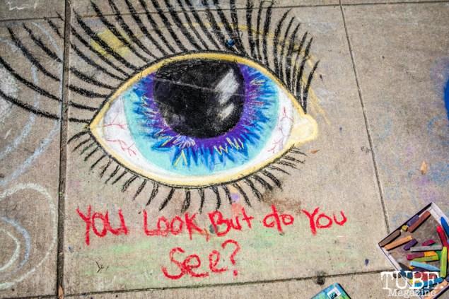 "Eye ""You look but do you see"", Chalk It Up, Sacramento 2015, Photo Sarah Elliott"