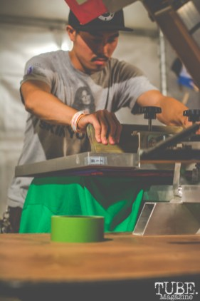 Screen printing at TBD Fest, Sacramento CA. 2015 Photo Sarah Elliott