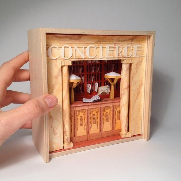 Miniature Reproduction of the Concierge Desk of the Grand Budapest Hotel by Mar Cerdà.