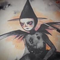 Detail from unfinished witch portrait by Naisa Gomez.