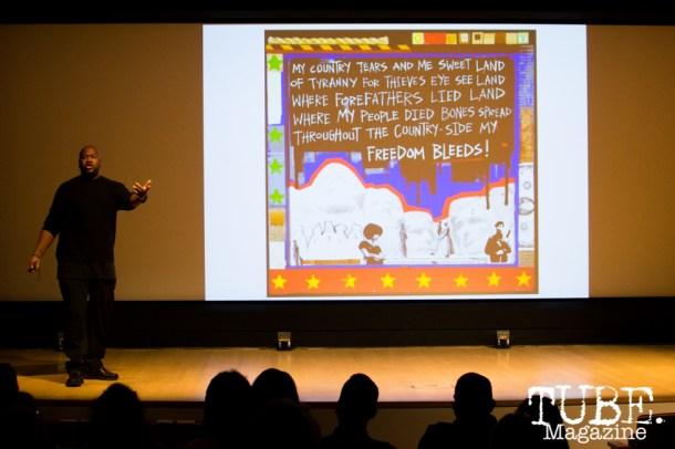 Milton Bowens speaks on Art Beyond Fear: Art and Activism at The Crocker Art Museum in Sacramento, Ca. November 2015. Photo Alejandro Montaño.