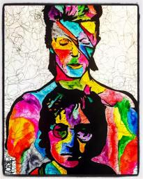Artwork by Kay Kelison, watercolors and ink, inspired by line number 24- 'Cause Lennon On Sale Again'