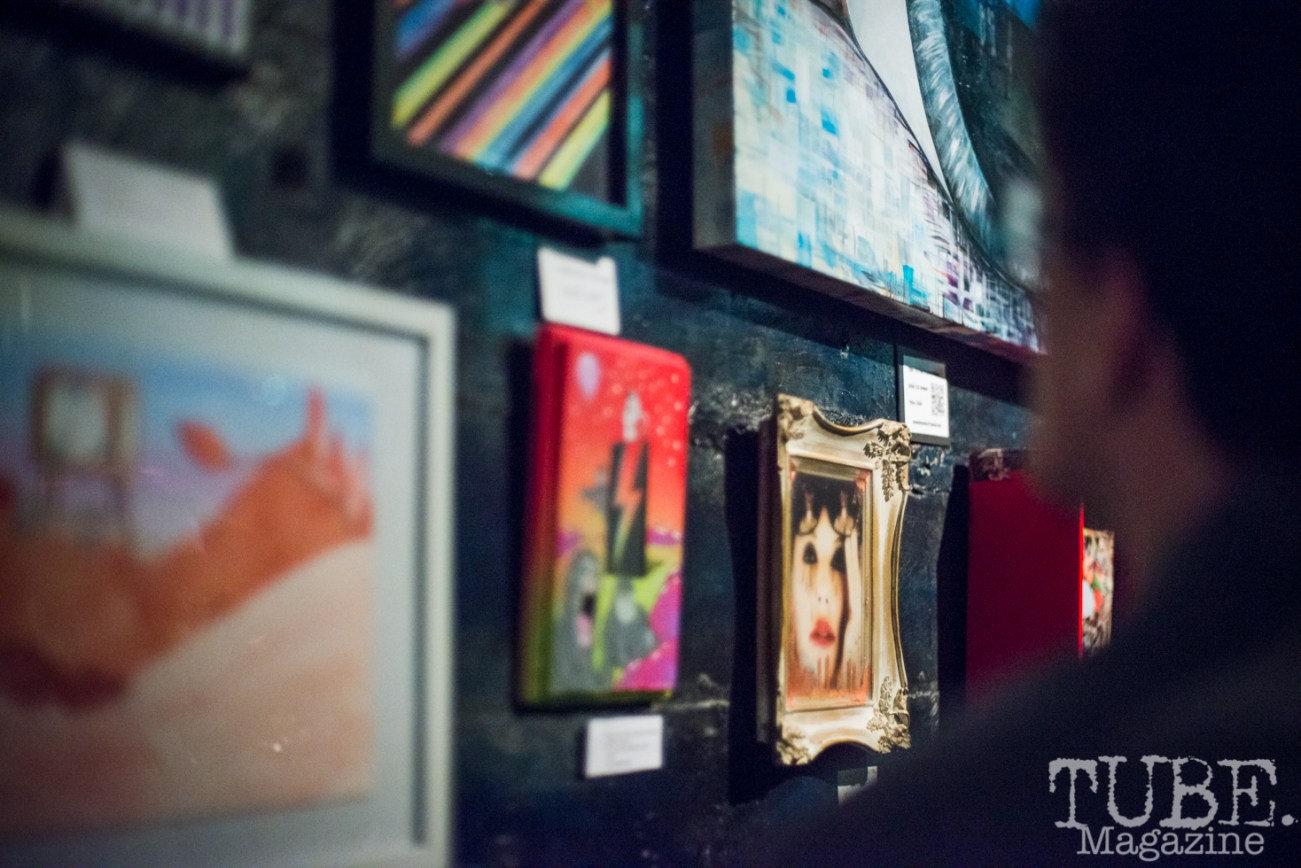 Artwork at the Life On Mars show at the Blue Lamp in Sacramento CA. February 2016. Photo Melissa Uroff