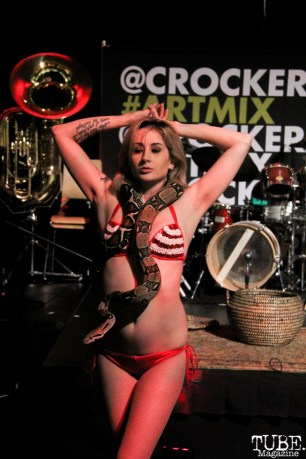 Snake Charmer Courtney Crimson of The Displayed Labors Sideshow performing at the Crocker ArtMix in Sacramento, CA on March 10, 2016. Photo Anouk Nexus