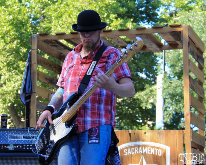 Sean P. Navin bassist of The Ghost Town Rebellion, Concerts in the Park, Cesar Chavez Park, Sacramento, CA. May 27, 2016, Photo Anouk Nexus