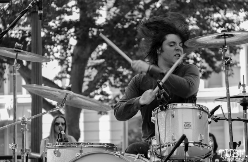 Steven Martin drummer of The Ghost Town Rebellion, Concerts in the Park, Cesar Chavez Park, Sacramento, CA. May 27, 2016, Photo Anouk Nexus