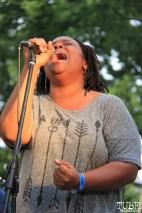 Nicole Genrty Backup Singer of Current Personae, Cesar Chavez Park, Sacramento, CA. May 6th, 2016. Photo Anouk Nexus