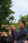 Trumpet players of Current Personae, Cesar Chavez Park, Sacramento, CA. May 6th, 2016. Photo Anouk Nexus