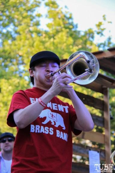 Brandon Au trombonist for Element Brass Band, Concerts in the Park, Cesar Chavez Park, Sacramento, CA. May 13, 2016, Photo Anouk Nexus