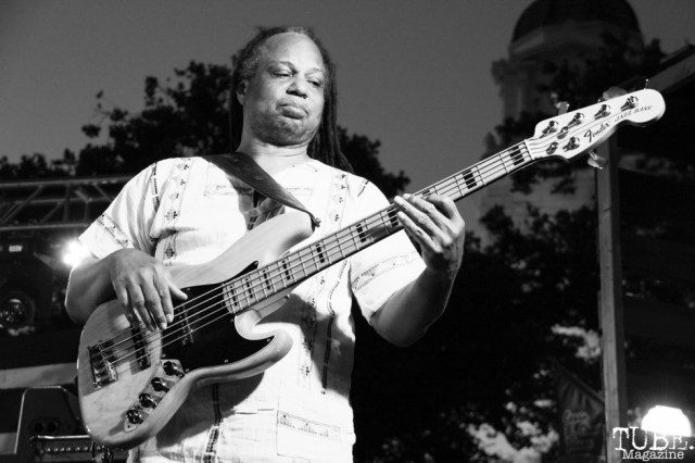 Courtney Sr. bassist of New Kingston, Concerts in the Park, Cesar Chavez Park, Sacramento, CA. May 13, 2016, Photo Anouk Nexus
