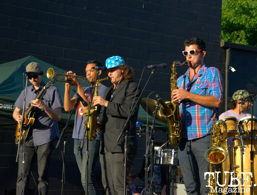The band Idea Team playing at the R Street Block Party in Sacramento, California on Saturday 21, 2016.