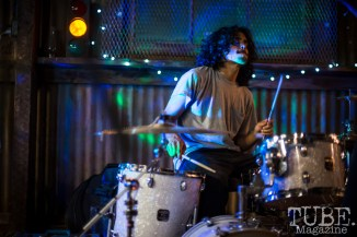 Omar Gonzales-Barajas of the Sunmonks playing with Duke Chevalier at The Panama Art Factory, Sacramento, CA. April 2016. Photo Melissa Uroff