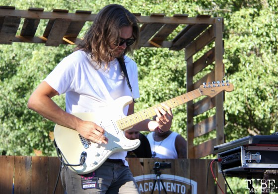 Guitarist of IrieFuse, Taylor Stecker, Concerts in the Park, Cesar Chavez Park, Sacramento, CA. June 24, 2016. Photo Anouk Nexus