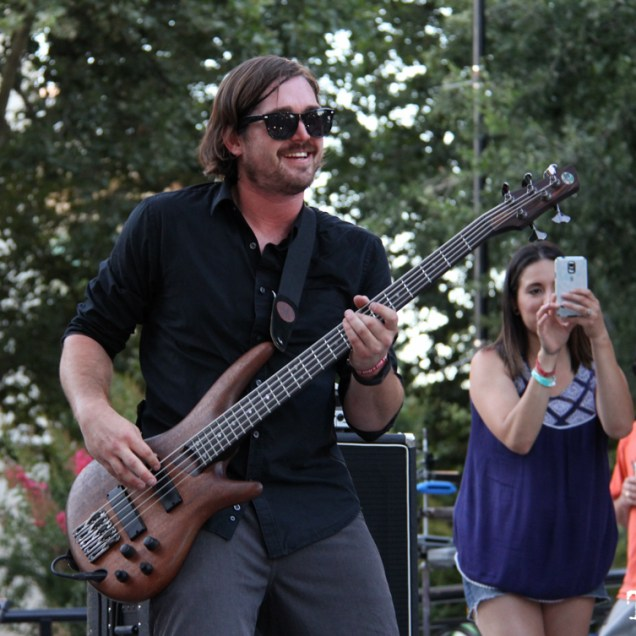 Arden Park Roots bassist, Spencer Murphy, Concerts in the Park, Cesar Chavez Park, Sacramento, CA. June 24, 2016. Photo: Anouk Nexus