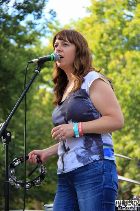 Vocalist Katie Haley of Soft Science, Concerts in the Park, Cesar Chavez Park, Sacramento, CA. July 15, 2016. Photo Anouk Nexus