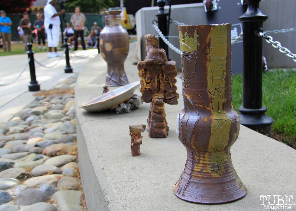 John Klaiber's ceramics, Concerts in the Park, Cesar Chavez Park, Sacramento, CA. July 15, 2016. Photo Anouk Nexus